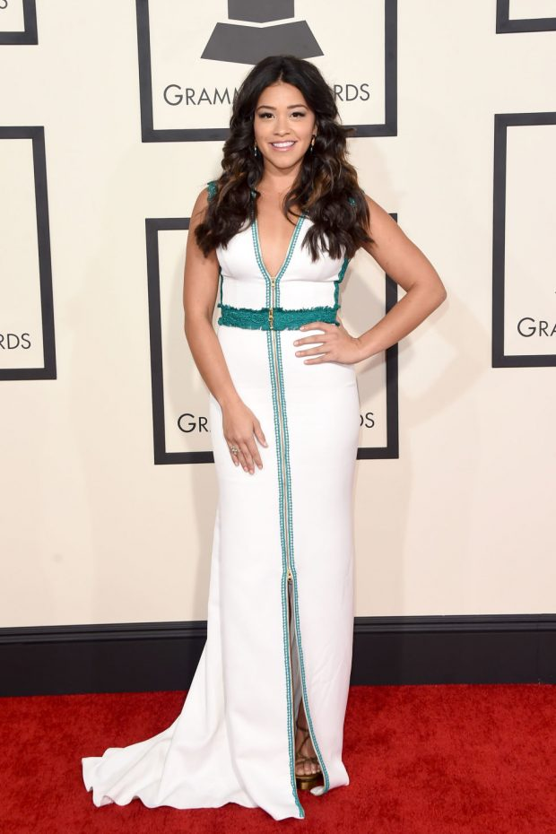 gina rodriguez red carpet grammy