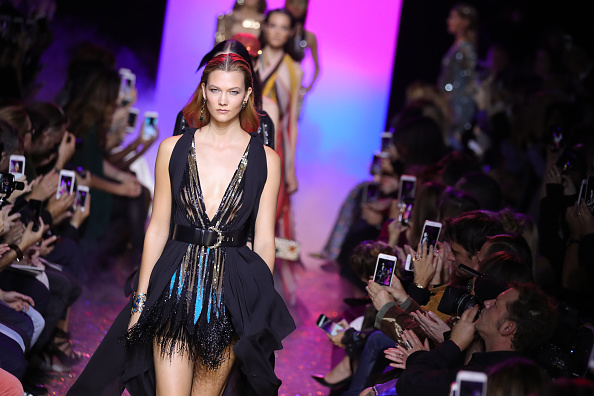 PARIS, FRANCE – OCTOBER 01:  Karlie Kloss walks the runway during the Elie Saab show as part of the Paris Fashion Week Womenswear Spring/Summer 2017  on October 1, 2016 in Paris, France.  (Photo by Antonio de Moraes Barros Filho/WireImage)