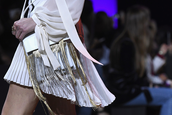 PARIS, FRANCE – OCTOBER 01:  A model bag detail,  walks the runway during the Elie Saab show as part of the Paris Fashion Week Womenswear Spring/Summer 2017  on October 1, 2016 in Paris, France.  (Photo by Dominique Charriau/WireImage)