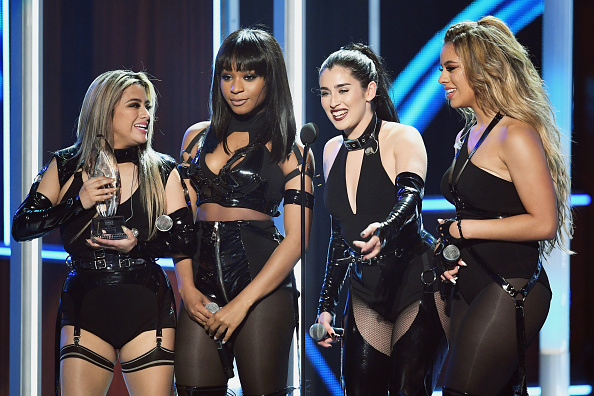 LOS ANGELES, CA – JANUARY 18:  (L-R) Singers Ally Brooke, Normani Kordei, Lauren Jauregui, and Dinah Jane of Fifth Harmony accept Favorite Group onstage during the People's Choice Awards 2017 at Microsoft Theater on January 18, 2017 in Los Angeles, California.  (Photo by Kevin Winter/Getty Images)