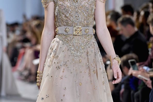 PARIS, FRANCE – JANUARY 25:  A model,dress detail, walks the runway during the Elie Saab  Spring Summer 2017 show as part of Paris Fashion Week on January 25, 2017 in Paris, France.  (Photo by Pascal Le Segretain/Getty Images)