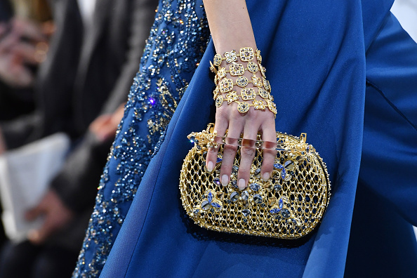 PARIS, FRANCE – JANUARY 25:  A model,bag detail, walks the runway during the Elie Saab  Spring Summer 2017 show as part of Paris Fashion Week on January 25, 2017 in Paris, France.  (Photo by Pascal Le Segretain/Getty Images)