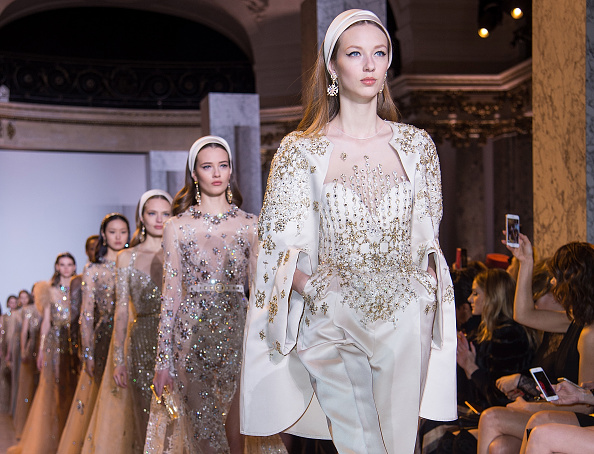 A model walks the runway during the Elie Saab Spring Summer 2017 show as part of Paris Fashion Week on January 25, 2017 in Paris, France.