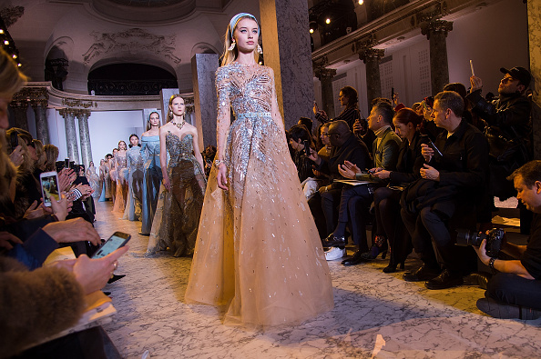 PARIS, FRANCE – JANUARY 25:  A model walks the runway during the Elie Saab Spring Summer 2017 show as part of Paris Fashion Week on January 25, 2017 in Paris, France.  (Photo by Stephane Cardinale – Corbis/Corbis via Getty Images)