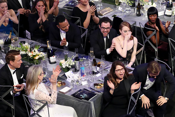 LOS ANGELES, CA – JANUARY 29: (L-R) Actors Meryl Streep, Ryan Gosling, Emma Stone, John Legend and Chrissy Teigen  during The 23rd Annual Screen Actors Guild Awards at The Shrine Auditorium on January 29, 2017 in Los Angeles, California. 26592_021  (Photo by Richard Heathcote/Getty Images for TNT)