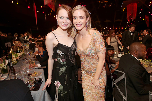 LOS ANGELES, CA – JANUARY 29:  Actors Emma Stone and Emily Blunt during The 23rd Annual Screen Actors Guild Awards at The Shrine Auditorium on January 29, 2017 in Los Angeles, California. 26592_012  (Photo by Christopher Polk/Getty Images for TNT)