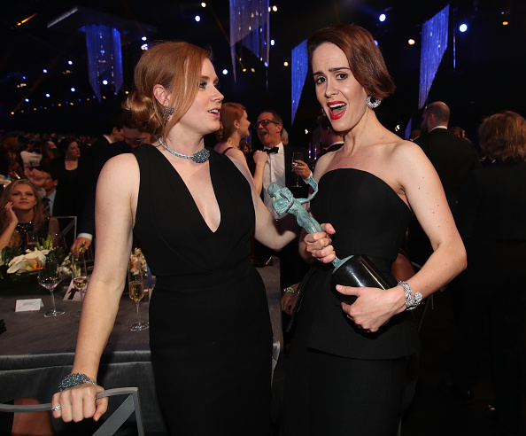 LOS ANGELES, CA – JANUARY 29: Actors Amy Adams and Sarah Paulson, winner of the award for Female Actor in a Television Movie or Limited Series, during The 23rd Annual Screen Actors Guild Awards at The Shrine Auditorium on January 29, 2017 in Los Angeles, California. 26592_012  (Photo by Christopher Polk/Getty Images for TNT)