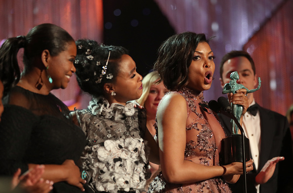 LOS ANGELES, CA – JANUARY 29:  (L-R) Actors Octavia Spencer, Janelle Monae, Taraji P. Henson, accepting the award for Cast in a Motion Picture, during The 23rd Annual Screen Actors Guild Awards at The Shrine Auditorium on January 29, 2017 in Los Angeles, California. 26592_012  (Photo by Christopher Polk/Getty Images for TNT)