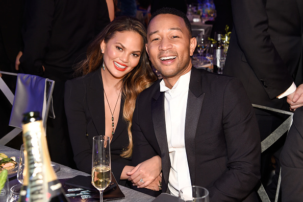 LOS ANGELES, CA – JANUARY 29: Chrissy Teigen (L) and artist John Legend during The 23rd Annual Screen Actors Guild Awards at The Shrine Auditorium on January 29, 2017 in Los Angeles, California. 26592_011  (Photo by Kevin Mazur/Getty Images for TNT)