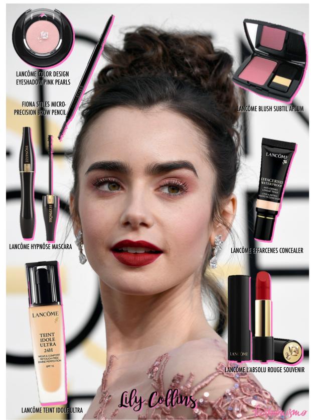 golden-globe-2017-makeup-lily-collins
