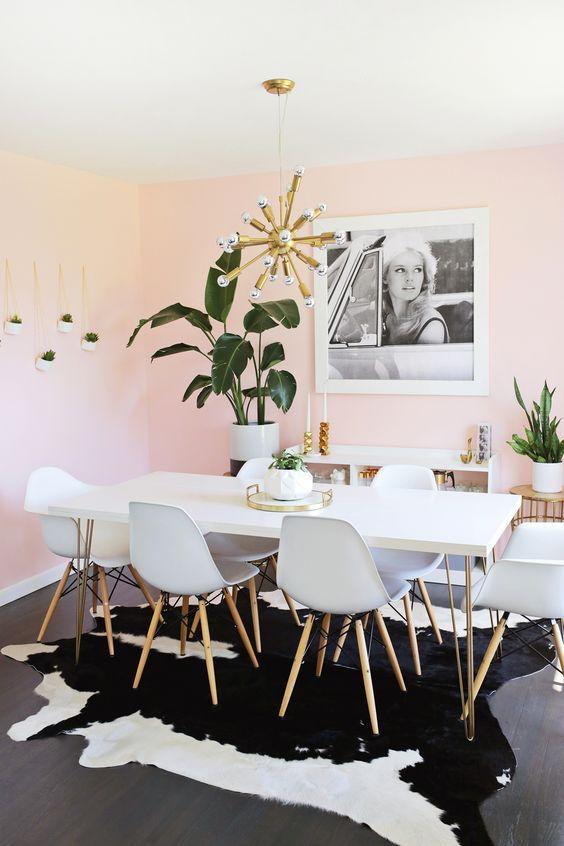 粉色渐变墙餐厅