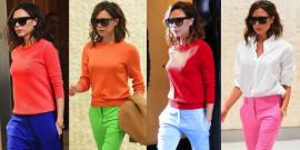 11 Looks da Victoria Beckham de calça colorida Por Aí